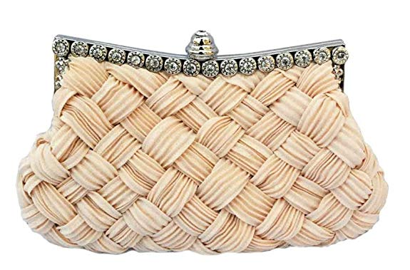 Chicastic-Pleated-and-Braided-Rhinestone-Clutch-Purse