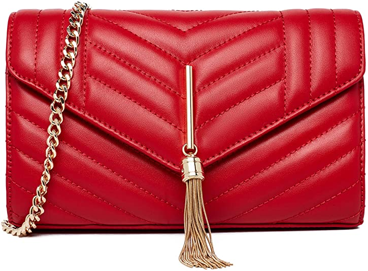 Chrysansmile Leather Clutch Crossbody Bag Quilted Evening Bag